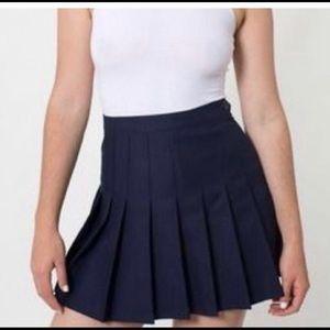 American apparel navy pleated tennis skirt